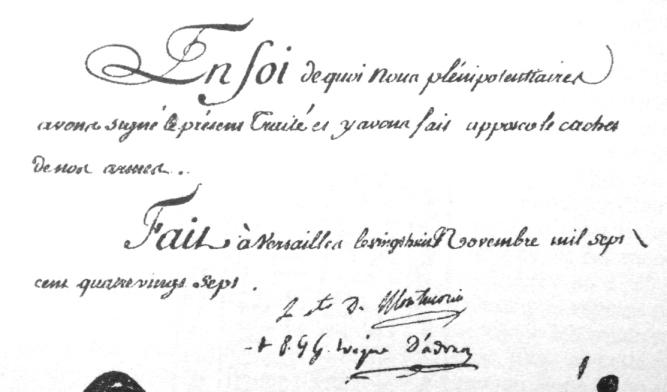 Chữ ký trên bản hiệp ước  1787