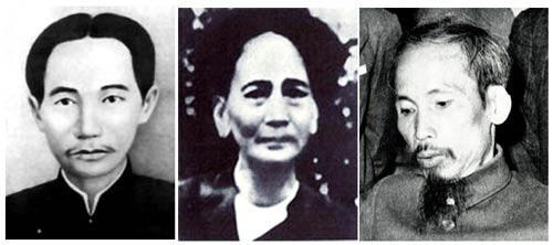 Ô. Nguyễn Sinh Sắc, cha của ô. Nguyễn Tất Thành (Hồ Chí Minh), bà Nguyễn Thị Thanh (chị của Nguyễn Tất Thành), và ô. Hồ Chí Minh (1946).