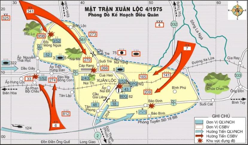 Bản đồ trận Xuân Lộc