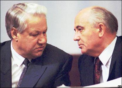 Boris Yeltsin và Mikhail Gorbachev
