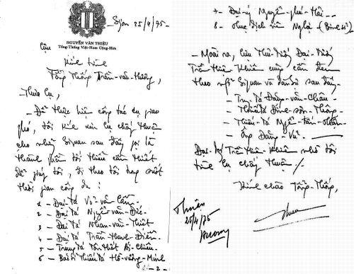 Danh sách phái đoàn do cựu Tổng thống Nguyễn Văn Thiệu trình lên Tổng thống Trần Văn Hương