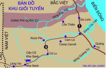 Bản đồ khu giới tuyến và QL 9 của Trần Đổ Cẩm
