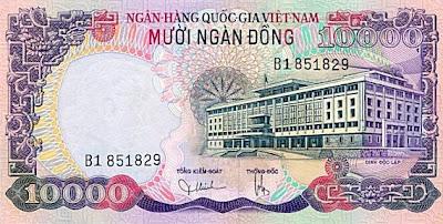 Mặt sau giấy bạc 10.000 đồng của VNCH in năm 1975 nhưng chưa kịp phát hành