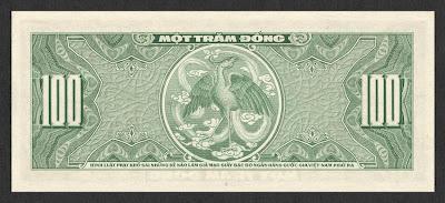 Mặt sau giấy bạc 100đ, phát hành tại miền Nam năm 1955