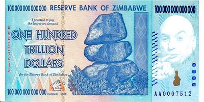 Kỷ lục thế giới: giấy bạc 100 nghìn tỷ đô la của Zimbabwe