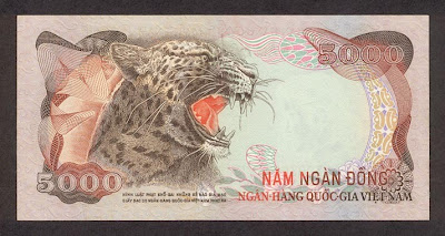 Mặt trước giấy bạc 5.000 đồng của VNCH in năm 1975 nhưng chưa kịp phát hành