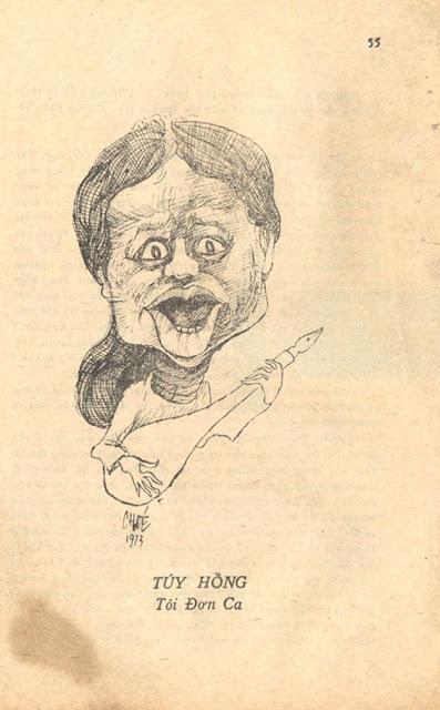 Nhà văn Túy Hồng dưới mắt họa sĩ Chóe