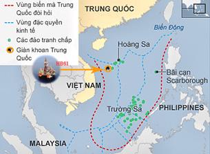 Vị trí của giàn khoan HD 981 trong thềm lục địa của Việt Nam RFA files:UNCLOS-CIA