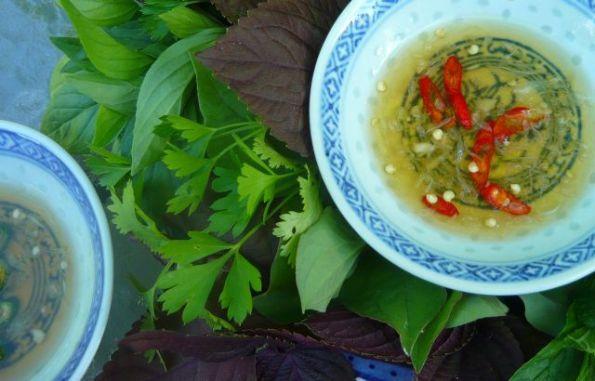 nuoc cham and fresh herbs