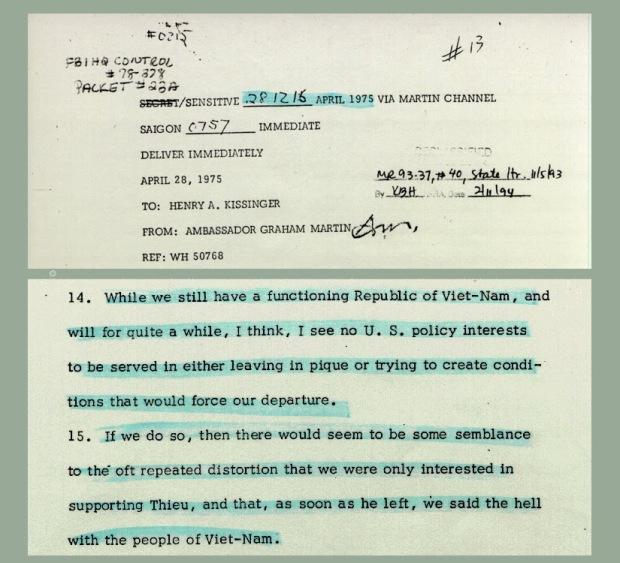 Công điện ĐS Martin gửi NT Kissinger ngày 28/4/1975