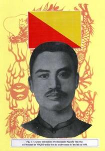 Nguyen Thai Hoc (1902-1930) et l'étendard du VNQDD à Yen Bai © illustration thèse Guillemot