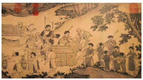Bức Trúc Lâm đại sỹ xuất sơn chi đồ được cho là vẽ Vua Trần Anh Tông đón cha