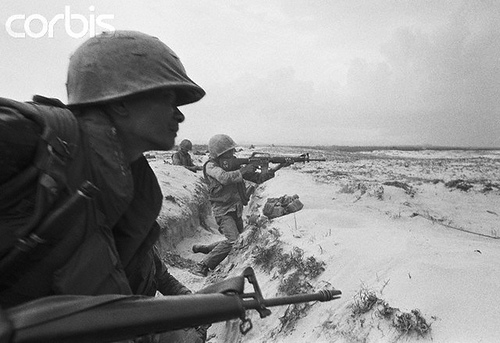 02 May 1972, Quang Tri, Vietnam --- South Vietnamese soldiers during battle. --- Image by © Henri Bureau/Sygma/Corbis