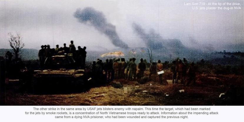 Trong vụ không kích khác tại cùng khu vực, các phản lực cơ Không quân Mỹ ném bom napalm vào quân địch. Lần này mục tiêu, được đánh dấu cho các phản lực cơ bằng trái khói, là một điểm tập trung bộ đội Bắc Việt đang chuẩn bị tấn công. Thông tin về cuộc tấn công sắp xảy ra được cung cấp bởi một tù binh Bắc Việt gần chết, là người đã bị thương và bị bắt trong đêm hôm trước.