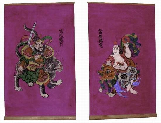 Cặp tranh Tử Vi-Huỳnh Đàn treo trước cửa (tranh Hàng Trống)