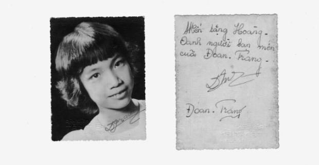 Ảnh Quỳnh Giao và thủ bút tặng Hoàng Oanh (thời gian Ban Tuổi Xanh)